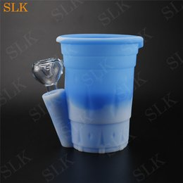 pipe cup NZ - Two layers Siliclab design silicone water bong collapsible water cup drinking smoking together glass bubbler pipes heady dab rig