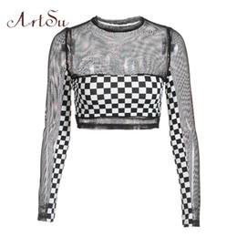 black mesh long sleeve tee NZ - Artsu Checkerboard Plaid Mesh Top Transparent Black Long Sleeve Tshirt Women Sexy Crop Top Workout Fitness Tops Tees Asts20431 Y19051301
