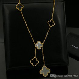 black gold agates NZ - Hotstone88 316L stainless steel gold plated White agate Black flower lover Necklace gold Fine Natural red agate Jewelry women