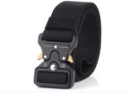 Webbing belts online shopping - 2019 Tactical Belt Military Style Webbing Riggers Web Belt Heavy Duty Quick Release Metal Buckle width