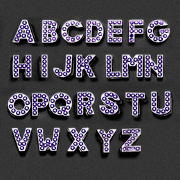 $enCountryForm.capitalKeyWord Australia - A-Z Purple Crystal Letter Slide Charms Rhinestone Initial Alphabet Sliders Fit For 8mm Leather Bracelet Keychains Phone straps