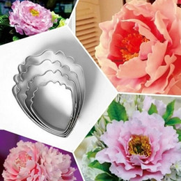 Peony Cutters Australia - Heart Peony Flower 4 pcs lot Cake Tools Stainless Steel Fondant Sugarcraft Cookie Cutter Cake Decorating Tools DIY Tools