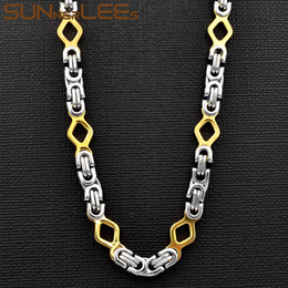 $enCountryForm.capitalKeyWord Australia - SUNNERLEES Fashion Jewelry Stainless Steel Necklace 6mm Geometric Byzantine Link Chain Silver Gold For Men Women SC112 N