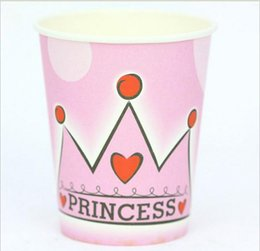 paper cup party supplies NZ - Wholesale-Party decoration favor supply Crown design birthday party Paper cups Children's Hand creative accessory 9oz 6pcs lot