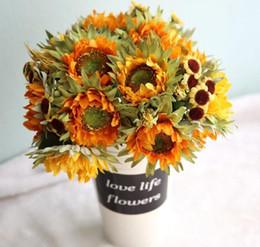 $enCountryForm.capitalKeyWord Australia - Artificial Sunflowers 5 Heads Beauty Fake Sunflower Artificial Silk Flower Bouquet Home Wedding Floral Decor Drop Shipping GB789
