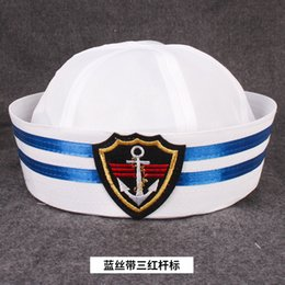marines costume UK - Fashion Blue White Military Hat Adult Kids Navy Marine Cap Anchor Sailor Boat Captain Army Caps Party Cosplay Costume Outfit