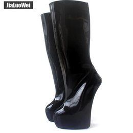 $enCountryForm.capitalKeyWord Australia - New 20cm Extreme High Heel back Zip Sexy Fetish Strange Style Sole Heelless Ponyplay Women Platform Knee-High Ballet Boots Man Cosplay shoes