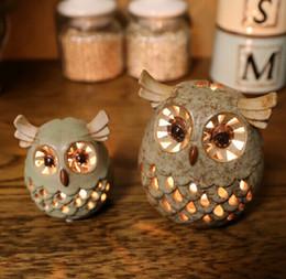 $enCountryForm.capitalKeyWord Australia - Ceramic Owl Candle Holders Home Decoration European Candle Stick Wedding Decor Candlestand Party Decoration Handmade Ceramic Owl Y19061901
