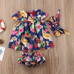 $enCountryForm.capitalKeyWord Australia - Summer Newborn Kids Baby Girl Outfit Clothes Tops Tutu Dress + Short Pants + Headband 3pcs Beachwear Holiday Cloth