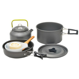 cleaning pots pans 2019 - Cleaning Brush Camping Pot 2-3 People Are Suitable Nonstick Pan Mini Cooking Set Picnic Cookware Outdoor Portable cheap