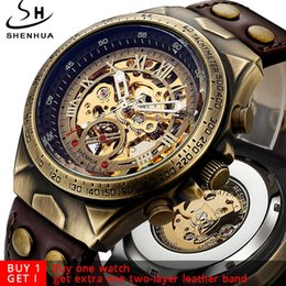 steampunk automatic mechanical watch Canada - Steampunk Bronze Automatic Watch Men Mechanical Watches Vintage Retro Leather Transparent Skeleton Watch Clock Man Dropshipping Y19051302