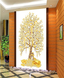 Golden Tree Painting Australia - custom size 3d photo wallpaper living room mural Pachira macrocarpa Golden Tree 3d porch backdrop painting wallpaper non-woven wall sticker