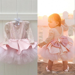 $enCountryForm.capitalKeyWord Australia - Beautiful Pink Girls Layers Cupcake Flower Girl Dresses New Lace Cap Sleeves Rose Flowers Tutu Skirt Long Formal Pageant Party Gowns