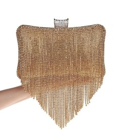 $enCountryForm.capitalKeyWord UK - Golden Diamond Tassel Women Party Metal Crystal Clutches Evening Bags Wedding Bag Bridal Shoulder Handbag Wristlets Clutch Purse