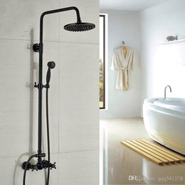 """Contemporary Metal Wall Australia - Wall Mounted 8"""" Rain Bathroom Shower Set Faucet Black Bronze Dual Handle Shower Hot and Cold Taps with Handshower"""