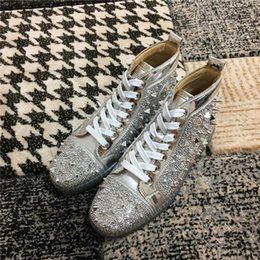 $enCountryForm.capitalKeyWord Australia - Luxury Women men red sole Casual Shoes bright silver Genuine Leather Sneakers with multi glitte rivets Lightweight Lacing-Up Casual Shoes