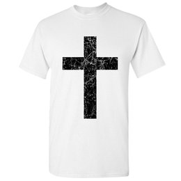 shorts for tall men Australia - Make T Shirts Short Sleeve O-Neck Tall Vintage Black Holy Cross Distressed T Shirt For Men