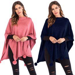 Loose pink diamonds online shopping - Womens Seven quarter Sleeve Hair Ball Cape Shawl Diamond knit Bat Irregular Fashion Loose Sweater FS99