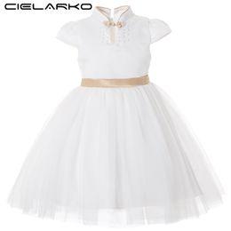 Short White Gold Dresses Australia - Cielarko Kids Dress For Girl Princess Big Bow Elegant Dresses White Gold Flower Girls Wedding Party Dress Fancy Design Collar Y19061801