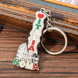 classic alloy NZ - Vicney Italy Roma Key Chain Rotatable Colosseum Pendant Keychain For Friends Zinc Alloy Italy Travel Souvenir Keyring