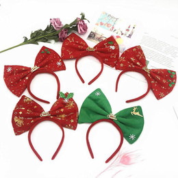 stick pony wholesale Australia - New style 2019 Christmas Kids Hair Sticks Cartoon big bows girls designer headband baby designer headbands headband hair accessories