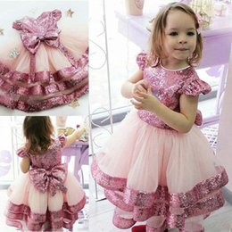 Line Wedding Dress Kids Australia - Pink A Line Sequined Flower Girl Dresses For Wedding Jewel Neck Tiered Pageant Gowns Tulle Cheap Kids Prom Dress