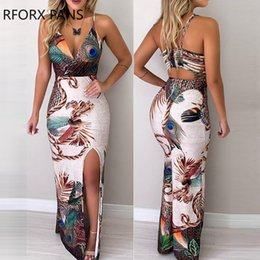 Peacocks Dresses White Australia - Women Peacock Feather Print Thigh Slit Slip Dress Maxi Dress Party Summer