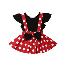 Wholesale 0 Y Summer Pretty Infant Kids Baby Girls Clothes Sets Black T Shirts Tops Dot Print Red Bib Dress