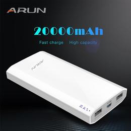 Xiaomi Mah Power Bank Australia - ARUN 20000 mAh Power Bank External Battery 2 USB Multi-function Portable Mobile Phone Charger for Xiaomi mi iphone XS 8plus