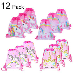 $enCountryForm.capitalKeyWord UK - Drawstring Bags Double-sided non-woven bundle Pocket Surprise Girls Baby Shark Unicorn Avenger Backpack For Kids 2-7 years Gift Totes A51501