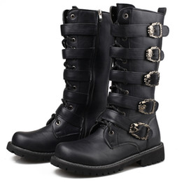 Military Style Shoes Australia - British Style Men High Boots New 2019 Mens Military Desert Boots High Quality Punk Equestrian Motorcycle Boots Casual Men Shoes