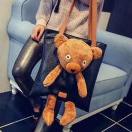 Cute Big Bags Australia - 2019 Top-handle Bags Pu Leather Big Women's Handbags Vintage Tote Bag High Quality Black Cute Bear Shoulder Bags For Women 740