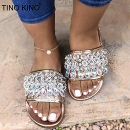 Wholesale TINO KINO Women Flat Crystal Summer Slippers Ladies Jelly Shoes Rhinestone Transparent Open Toe Casual Beach Female Plus Size