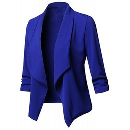 blazers NZ - Blazers Women Office Work Wear Elegant Ladies Business Suit Long Sleeves Cardigan Coat Open Front Ruched Asymmetrical Casual top