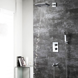 $enCountryForm.capitalKeyWord Australia - 2019 Brass Chrome Finish 3 function in wall square shower set rainfall watefal showerhead conceal thermostatic diverter valve and tap