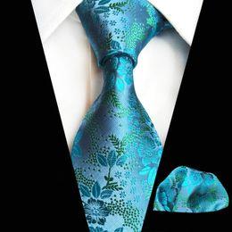 $enCountryForm.capitalKeyWord Australia - Men's Ties Sky Blue Paisley Silk Jacquard Tie Hanky Set Men's Business Gift Ties For Mens Ties Pocket Square Suit Set