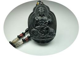 Jade Guan Yin Pendant Australia - Koraba Fine Jewelry Clin-kk Natural Obsidian Kwan-yin Sit Elephant Guan Yin Kwan-yin Boddhisattva Pendant Necklace Free Shipping
