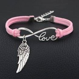 $enCountryForm.capitalKeyWord Australia - Fashion Luxury Silver Color Infinity Love Flower Wing Angel Pendants Bracelets & Bangles for Women Men Pink Leather Suede Rope Party Jewelry
