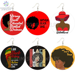 Wholesale african queen online – design SOMESOOR Natural Black Hair Blessed Woman African Wooden Drop Earrings Strong Educated Queen Afro Sayings Dangle For Women Gifts