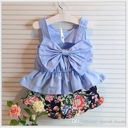 big girls wholesale dresses Canada - 2017 New Summer Baby Girls Suspender Dress With Back Big Bowknot+Floral Printed Shorts 2pcs Set Cute Girl Outfits Kids Suits 5sets lot