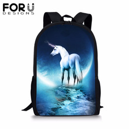 $enCountryForm.capitalKeyWord Australia - FORUDESIGNS School Backpack for Teenager Girls Student Cool Fantasy Unicorn Horse BookBag 16 inch Satchel Women Daypack Mochila