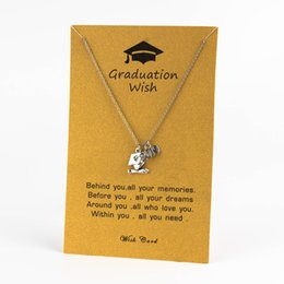 $enCountryForm.capitalKeyWord NZ - Yishan 2019 Memories Stainless Steel Graduation Blessing Silvery Pendant Necklace Graduate Student Bachelor Hat Bijoux CN223