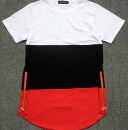 351e612e6d1 Hip Hop Mens Fashion T-shirt Streetwear Arc Cut side zipper Short Sleeve O-neck  tshirts Color Patchwork casual Tyga Tee Shirt