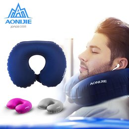 $enCountryForm.capitalKeyWord NZ - Wholesale-AONIJIE Ultra Light Compact U-Shape Travel Pillow For Airplane Easy Inflatable Neck Pillow Travel Camping Ergonomic Pillows