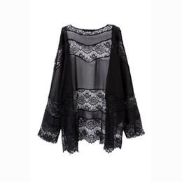 Crystal Stitching UK - good quality 2019 Women Lace Splicing Hollow Chiffon Kimono Cardigan Blouse Coat Tops Lace stitching kimono
