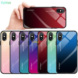 gradient tpu iphone case NZ - Tempered Glass Phone Case For iphone XS MAX XR X 8 7 6 6s Plus Cases Gradient Color Soft TPU Back Cover For Apple