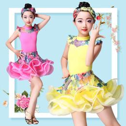 Latin Salsa Tango Ballroom Dance Dress NZ - New flower floral Girls Latin Dance Skirt Ballroom Salsa Tango Skirts Kid Child Lace Latin Dance Split Dress With Leotard Skirt