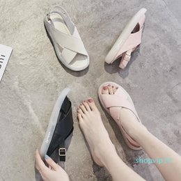 Crystal2019 Soft Comfortable Bottom Concise Genuine Leather Sandals Woman Joker Flat Bottom Rome Pregnant Woman Non-slip Peep-toe