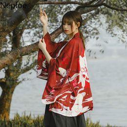 6bb826ba6 Neploe Harajuku Cardigan Summer Women Japanese Kimono Vintage Printed Bat  Sleeve Casual Loose Cardigan Blouse Lady Chimono 39002