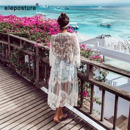 women swimwears Australia - Swimwears -s 2020 Sexy Lace Embroidery Beach Up Women Bikini Cover Up Long Beach Dress Tunics Swimsuit Bathing Suits Cover-Up Beachwear